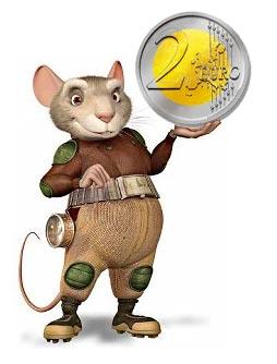 Imagen del Ratoncito Pérez utilizada en la campaña de información ante la llegada del euro.
