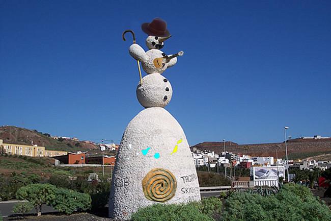 La nueva imagen del Muñeco de Nieve estará marcada por las señas de identidad canarias (imagen cedida por el artista Argimiro Clemente)