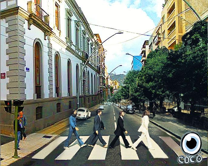 Los Beatles, cruzando la calle Méndez Nuñez de Santa Cruz de Tenerife, para buscar el coche que dejaron aparcado en Viera y Clavijo.