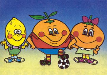 Citronio, Naranjito y Clementina durante el rodaje de la serie de TV