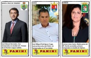 """Algunos de los cromos de la colección """"Alcaldes de Tenerife"""", incluyendo la codiciada pieza de la alcaldesa de Güímar"""
