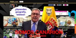 Captura de pantalla de la web de la FIBA hackeada por el presidente insular grancanario.