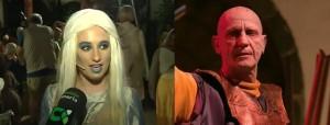 Daenerys de Las Nieves y Kraznys Mo de Los Llanos, en su participación la semana pasada en el Carro Alegórico, Triunfal y Valyrio.