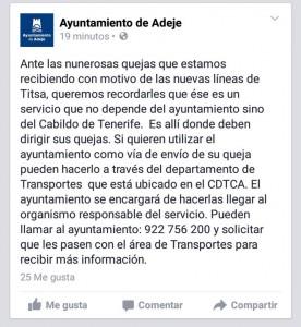 Uno de los posts aclaratorios del Ayuntamiento de Adeje
