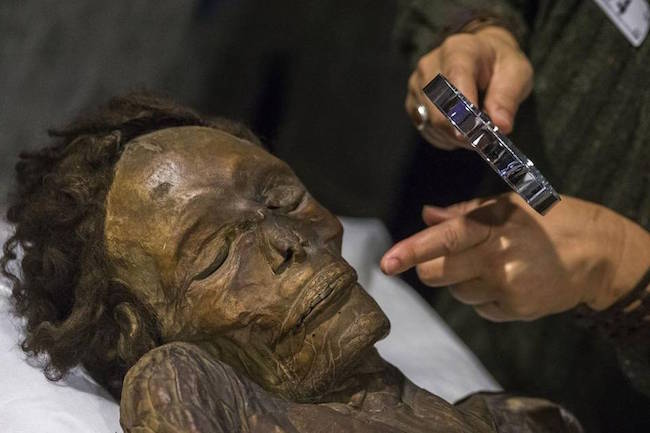 La momia en su nueva ubicación
