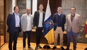 Rudy y Ruymán, en su encuentro con Fernando Clavijo y Cristóbal de la Rosa.