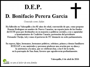 Nuestro pésame a la familia de d. Bonifacio.