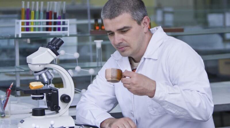 Chinea comprueba la absorción en café del bizcocho que estudia al microscopio.